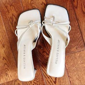 Hillard & Hanson White Strappy Square toe Sandals